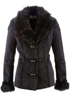 Casaco de camurça e pelo preto encomendar agora na loja on-line bonprix.de  R$ 299,00 a partir de Jaqueta de couro sintético elegante, com aplicação de ...
