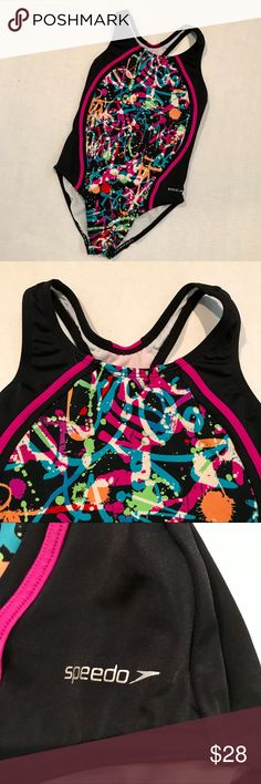 👫KIDS 🌟HP🌟Speedo Swimsuit 🌟Host Pick Everything Kids 9/3🌟 A paint splatter front will show everyone who's the boss at the pool when you walk in! The sides and back are solid black with a tinge of hot pink at the racerback. Excellent condition. Speedo Swim One Piece