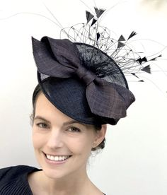 Kate Middleton hat black Tea Party hat White and black Ascot Hat black wedding hat black percher hat white cocktail hat with feathers
