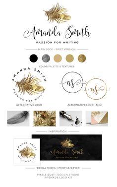 LOGO KIT, Feather Logo, Branding Logo Package, Blog Logo, Logos, Gold Foil, Logo Set Gold Logos Custom Branding Kit, Feather Logos