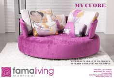 Welcome to Mia Stanza furniture in Nantwich, Cheshire. Suppliers of the Fama MyCuore swivel sofa. Living Room Sofa, Living Room Furniture, Sofa Fama, Funky Sofa, Sofas Vintage, Pallet Ideas Easy, Unique Sofas, Best Sofa, Pallet Furniture