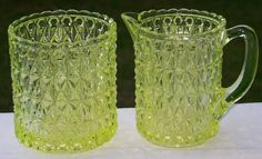 Central Glass 775 Vaseline Canary Pressed Diamond Open Sugar .  This set will certainly brighten your new beginning this year!  Offered by Ruby Lane shop  Cousins Antiques.