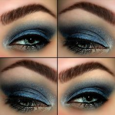 An icy blue smokey eye look on blue eyes using Urban Decay's Vice 2 Palette. It's the perfect wintry look for a night out during the holidays.