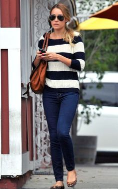 Striped shirt, skinny jeans and animal print ballerina shoes = awesome Lauren Conrad outfit #fashionicon