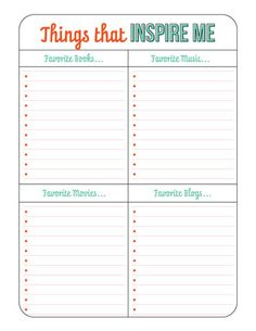Things that inspire me - 2015 Life Planner - Download