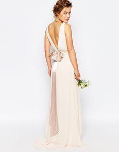 Image 2 of TFNC Petite WEDDING Sateen Bow Back Maxi Dress