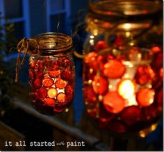 Fall Decor Idea - Mason Jar Crafts Love- I have some older jars if you wanted to make some of these, we would just need to stones.