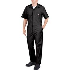 Dickies Men's Short Sleeve Deluxe Poplin Coverall, Size: M Short, Black