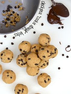 "Chickpea Chocolate Chip ""Cookie Dough"" Bites (gluten-free, dairy-free, vegan, no added sugar) Chickpea Chocolate Chip Cookies, Chocolate Chip Cookie Dough, Cookie Recipes, Snack Recipes, Dessert Recipes, Sweet Desserts, Healthy Treats, Healthy Desserts, Dinner Recipes For Kids"