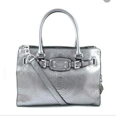 Nickel Grey Michael Kors Hamilton Satchel Gorgeous barely used nickel sliver / grey purse. This is a large purse. Michael Kors Bags Satchels