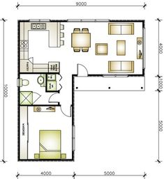 L shaped 50 sqm granny flat plan L Shaped Tiny House, L Shaped House Plans, Small House Floor Plans, Small Tiny House, Tiny House Cabin, Small House Design, Modern House Plans, Cottage House Plans, Micro House Plans