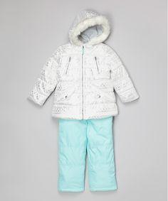 Look what I found on #zulily! White & Mint Geometric Ski Bib & Jacket - Toddler by Carter's #zulilyfinds