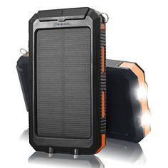 QueenAcc 10000mAh WaterShockDust proof Portable Solar Charger Solar Power Bank with LED Flashlight Portable Charger Dual USB External Battery Bank for iPhoneSamsung and Other USB DevicesOrange ** You can find more details by visiting the image link-affiliate link.