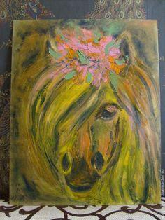 Животные ручной работы. Ярмарка Мастеров - ручная работа. Купить Афина, 40х50, картина, лошадь. Handmade. Комбинированный, позитивная живопись