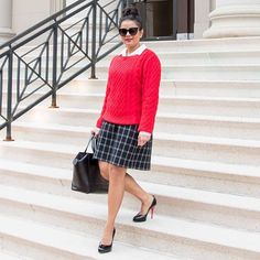 """Dressing up for  9-to-5 life 👜👓👠 On days when """"I have nothing to wear""""( 🙄😃) – a classic sweater/skirt combo is my go-to! . . The most important thing for me is to feel good in what I am wearing to work – you know we can all use the extra confidence boost for what they call …umm #SLAYING 😃👊🏼. I've linked this outfit + a few classic skirts perfect for the office 💻  http://liketk.it/2q6ze @liketoknow.it #liketkit . . #whattoweartowork #corporatefashion #officestyle #iamtheeverygirl…"""
