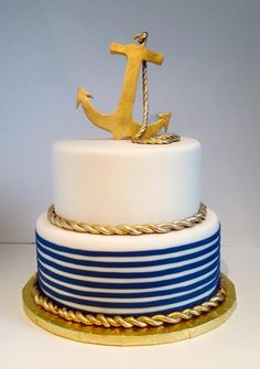 Blue,white and gold anchor  Stripped cake #