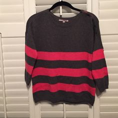 SALE TONIGHT ONLY Gap pink & grey stripe sweater Brand new gap sweater in charcoal grey with pink stripes. Decorative button accents on one shoulder. Drop shoulders. Looser fit through the body. No trades! GAP Sweaters