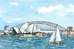 Impression dune peinture aquarelle originale dart Sydney
