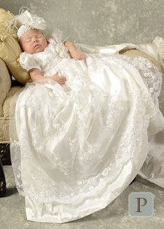 Preslee Beaded Silk Christening Gown.  Absolutely gorgeous. My niece would look precious in this
