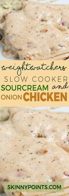 Slow cooker Sour Cream and Onion Chicken With only 6 Weight Watchers Smart Points (Keto Slow Cooker Recipes) Poulet Weight Watchers, Plats Weight Watchers, Weight Watchers Smart Points, Weight Watcher Dinners, Weight Watchers Chicken, Weight Watchers Crock Pot Chicken Recipe, Weight Watchers Food, Weight Watchers Recipes With Smartpoints, Weight Watcher Recipes