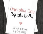 WKB20 - One Plus One Equals Both Wedding Favor Candy Bags, One Plus One Wedding Bags, One Plus One Candy Bags, One Plus One Favor Bags