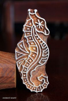 Hand Carved Indian Wood Textile Stamp Block- Seahorse