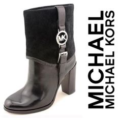"""NEW❤️Michael Kors Fulton Booties Brand new, never worn! Black Michael Kors Fulton ankle boots with suede top and leather bottom. Round toe and 4 inch chunky heel. Buckle on outside of boot with """"MK"""" silver logo on both boots! PERFECT for winter! NO BOX.    % AUTHENTIC. Michael Kors Shoes Ankle Boots & Booties"""
