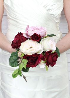 """Rose Silk Bouquet in Burgundy and MauveWedding Bouquet12"""" Tall"""