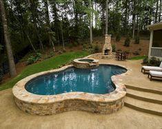 Great Ways to build Semi Inground Jacuzzi Swimming Pool — House Improvements Small Inground Swimming Pools, Small Backyard Pools, Backyard Pool Designs, Small Pools, Swimming Pool Designs, Pool Decks, Pool Landscaping, Small Backyards, Backyard Ideas