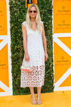 elizabethswardrobe:  Martha Ward in Jimmy Choo 'Lance' heels at the Veuve Clicquot Gold Cup Final.