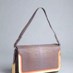Cobble snake embossed leather 'Misha' fold-over shoulder bag. / Botkier