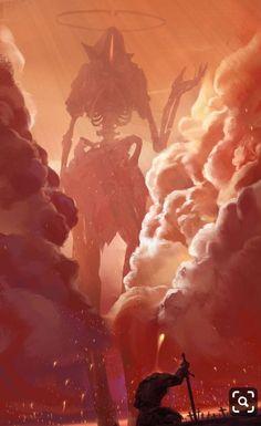 Just epic scene with a Warrior & Huge Monster! Monster warrior illustration Art credits to its creator Dark Fantasy Art, Fantasy Kunst, Fantasy Artwork, Fantasy Series, Monster Concept Art, Fantasy Monster, Monster Art, Arte Horror, Horror Art