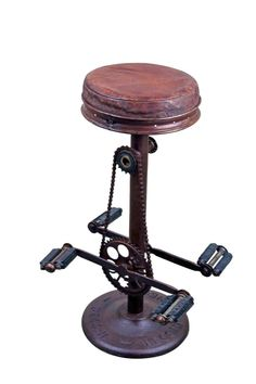 Rustic Mexican Furniture :- Industrial Style Iron Bike Stool is no ordinary stool. This stool is made from recycled bicycle parts, requires no exercise on your part and has a comfy seat this is what we call a win win! If you've been looking for the perfect, durable, unique stool to put in your kitchen than the hunt is over.