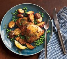 Herb-Roasted Chicken With Potatoes and Peas recipe (over 5k pins!)