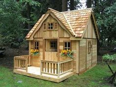 Outside playhouse plans Choose from our wide selection of styles From clubhouse to cottage style These amazingly inventive backyard Outside Playhouse, Backyard Playhouse, Build A Playhouse, Playhouse Ideas, Cedar Playhouse, Backyard Fort, Petits Cottages, Casa Kids, Building A Shed
