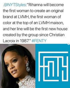 Congrats to Rihanna on the launch of her LVMH luxury Maison brand, 'Fenty'. She is the first Black Woman to launch a fashion brand with LVMH😱 ‬ ‪Rihanna will debut her first collection on May Rihanna Riri, Beyonce, Louis Vuitton, Beauty Boutique, Christian Lacroix, Level Up, Proud Of You, Our Girl, I Am Happy