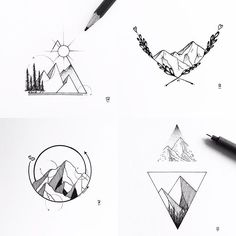 Mountain galore! #illustration #illustrator #design #sketch #drawing #draw #tattoodesign #tattoo #art #artwork #artist #artistic #instaart #blackwork #blackworkers #iblackwork #dotwork #linework #geometry #mountain #landscape #nature #explore #wanderlust #evasvartur #instafollow #trees #sun #blackandwhite