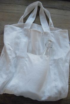 white linen market tote