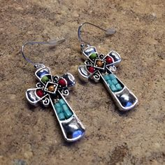 Colorful Cross Design / Earrings Description : 1 1/4 Inch X 3/4 Inch Cross Design / Metal / Acrylic / Bead / Fish Hook / Lead & Nickel Safe / Packaging:	Gif Boxed Jewelry Earrings