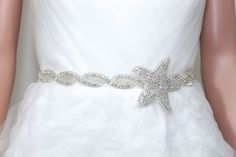 Etsy: Satin or organza Starfish Star Rhinestone Crystal Bridal Sash/Belt beaded embellishment appliqué set on satin ribbon. provide in white,off