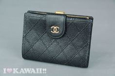 Authentic CHANEL Black Cavierskin Leather Bifold Snap Coin Purse Wallet #CHANEL #Wallet