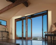 A view of the LA skyline. Andersen Folding Patio doors are available in panels up to 10 feet tall and expanses to 48 feet wide.