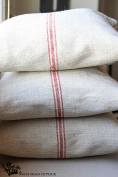 Grain Sack Pillows by The Wood Grain Cottage