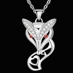 Последние стерлингового серебра очаровательная фокс подвески и ожерелья для женщин мода sexy животных ожерелье для…