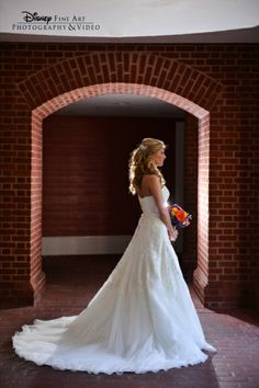 Remember to pause for a regal photo op (and a deep breath!) before walking down the aisle #Disney #wedding #dress