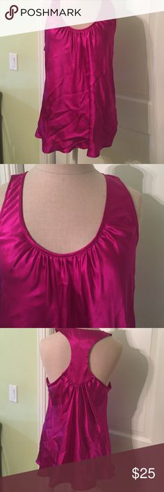 bright and beautiful tank beautiful fuschia 100% silk tank.  never worn, just removed tags and obviously didnt fold up very well (wrinkles sorry) Atsuyo et Akiko Tops Tank Tops