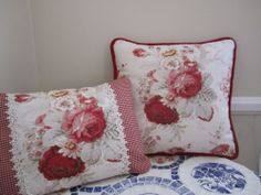 Waverly Red Norfolk Rose Vintage French Country Toile Pillow Shabby Chic z