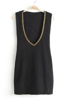 Black V Neck Sleeveless Rivet Sundress - Sheinside.com