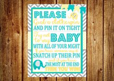 Gray, Teal and Yellow Elephant Clothespin Baby Shower Game - Digital File- DIY Printable- Elephant Baby Shower Game, Chevron Party Printable by InvitesByChristie on Etsy