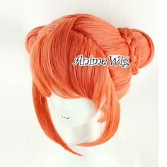 Lolita Orange Long Wavy Style Anime Cosplay Hair Wig With Buns Design + Braid